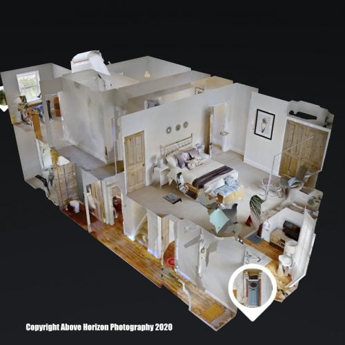 A dollshouse view of a Matterport virtual tour