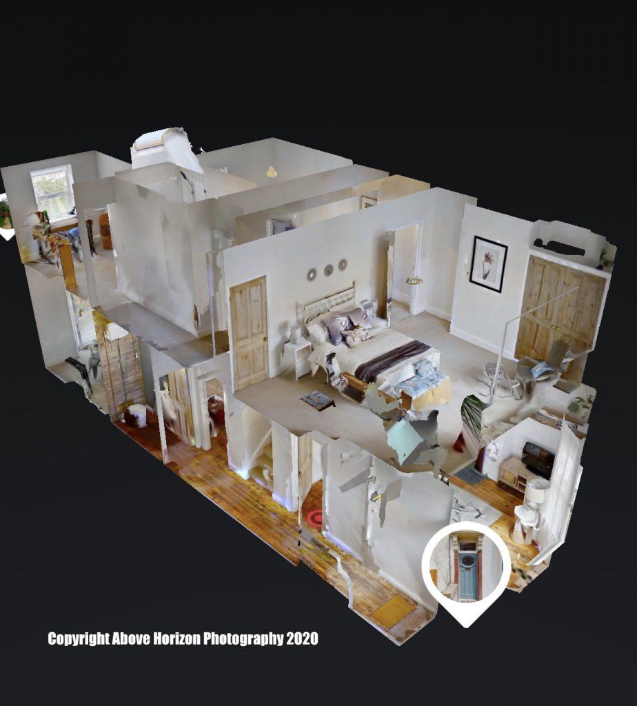 A dollshouse view of a Matterport virtual tour