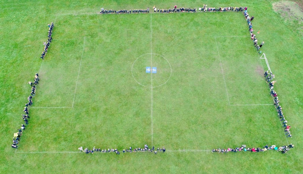 School Football Pitch Outdoor Drone Photo